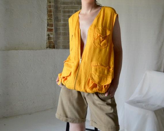 marigold linen cargo vest