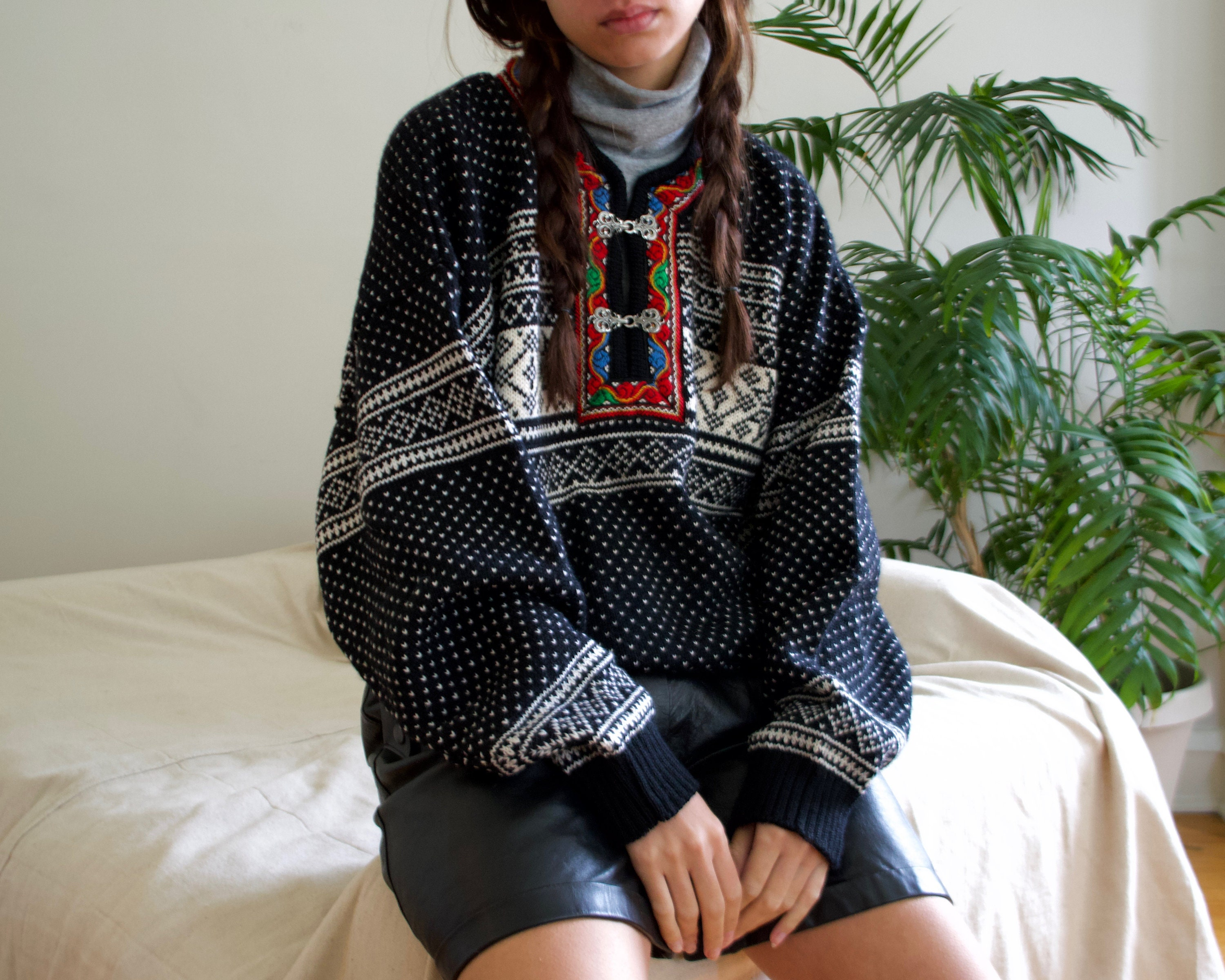 80s Sweatshirts, Sweaters, Vests | Women Wool Norwegian Fair Isle Pullover Sweater With Silver Buckles $125.00 AT vintagedancer.com