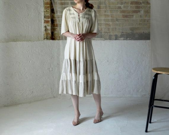 natural cotton gauze ruffle lace up smock dress