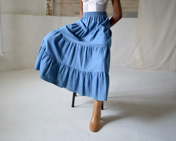 denim tiered circle skirt / ankle length skirt - image 3