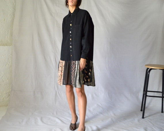 black cotton shirtdress with calico floral patchwo