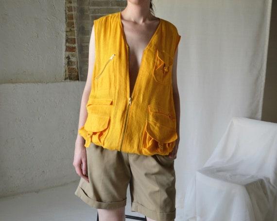 marigold linen cargo vest - image 2