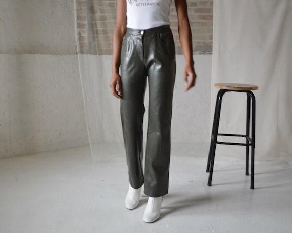 neoprene forest green bootcut pants