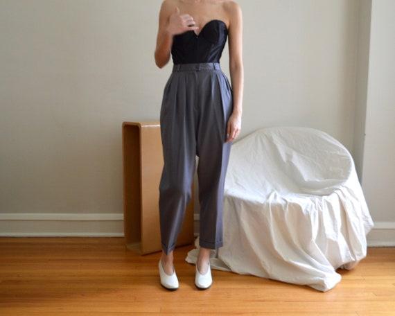 grey wool pleated high waist taper trousers / 29w