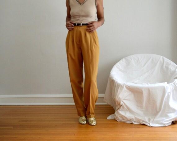 wool mustard yellow pleated trousers / 28w