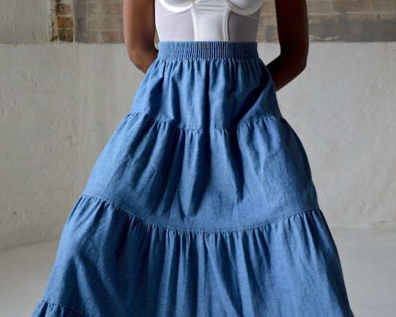 denim tiered circle skirt / ankle length skirt - image 7