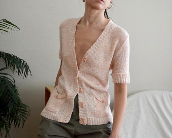 pink heathered short sleeve long line cardigan top