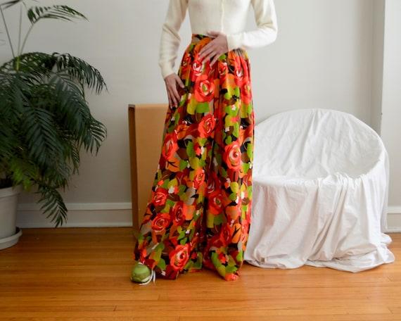 70s floral palazzo pleat pants - image 1