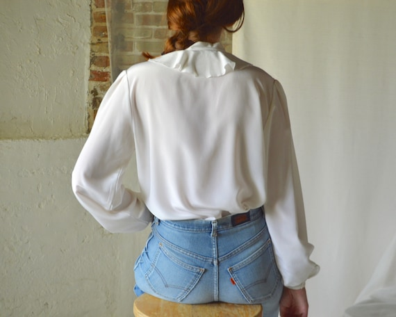 ruffle caped collar white blouse - image 2