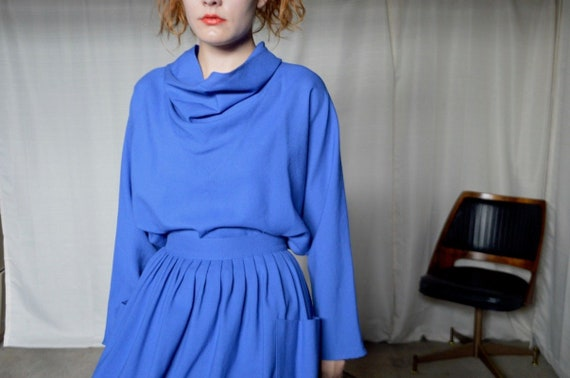 minimalist wool skirt set / matching set / top and skirt set / pleated skirt / cowl neck / slouchy set / colorblock