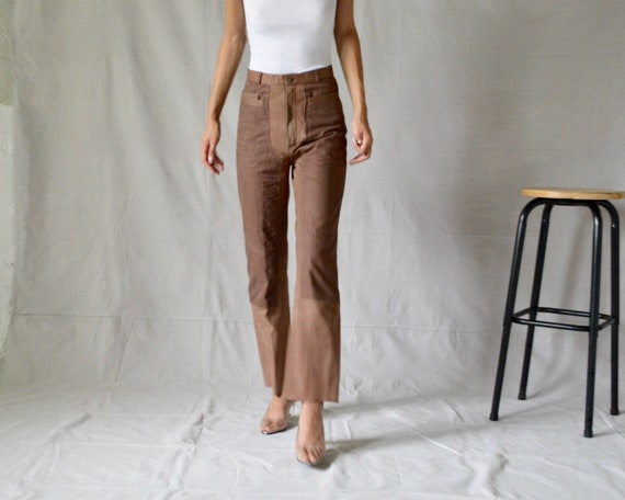 leather and canvas patchwork taupe highwaist strai