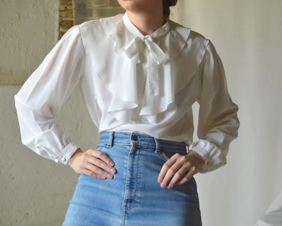 ruffle caped collar white blouse - image 5
