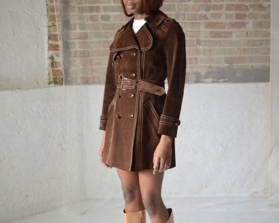 70s suede double breasted leather trench - image 5