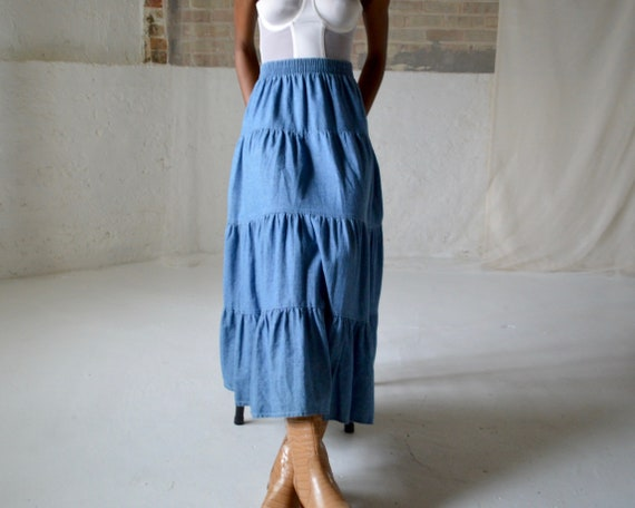 denim tiered circle skirt / ankle length skirt - image 2