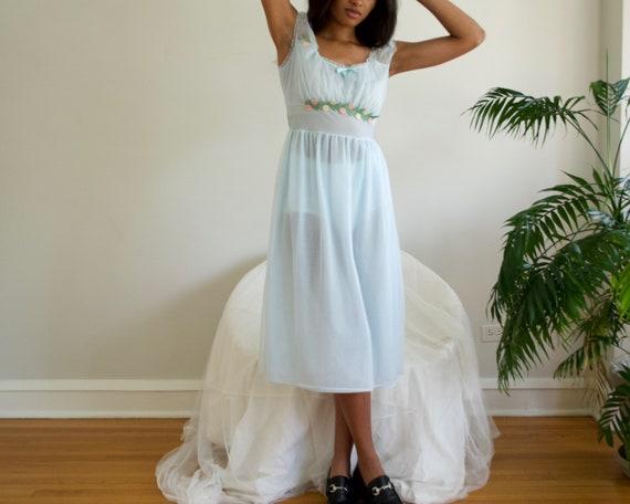 pale blue floral empire waist negligee / slip dre… - image 2