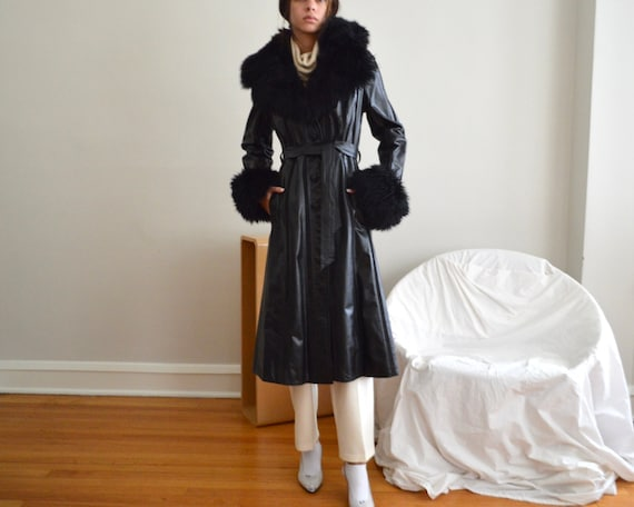 black leather and suede striped fur trim belted ja