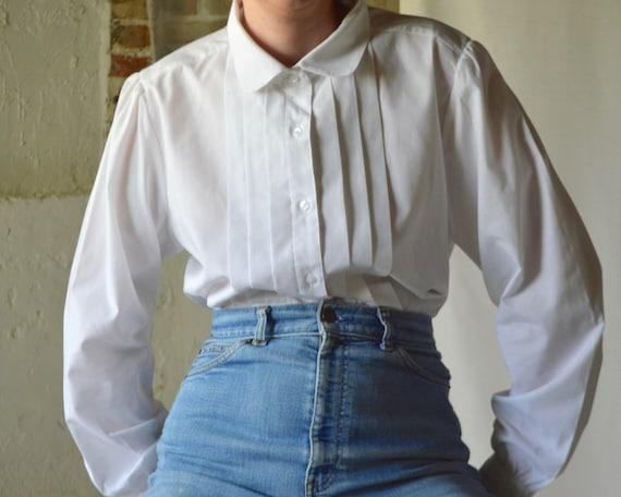 white peter pan collar knife pleat tuxedo shirt