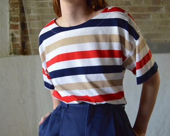paper thin striped button shoulder tshirt / boxy t