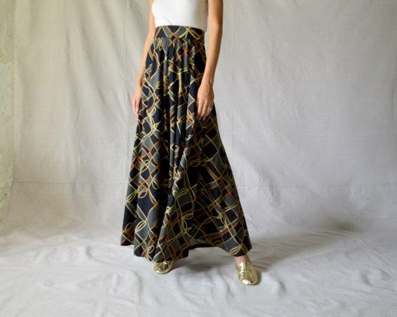 70s barkcloth rope print panel maxi skirt