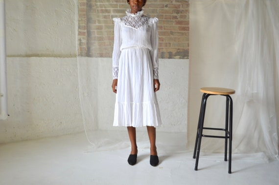 70s white gauze lace neck prairie dress