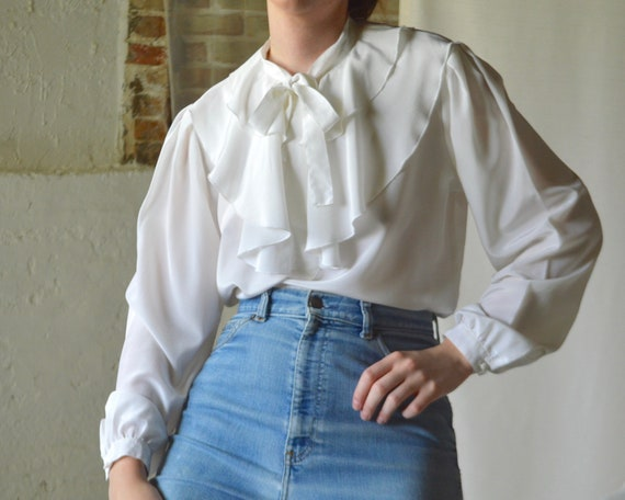 ruffle caped collar white blouse - image 4