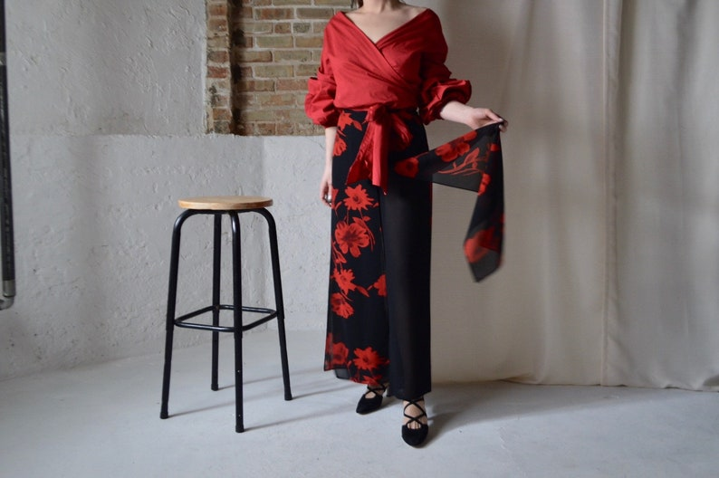 black chiffon red floral carwash panel pants  sheer pants  high waist