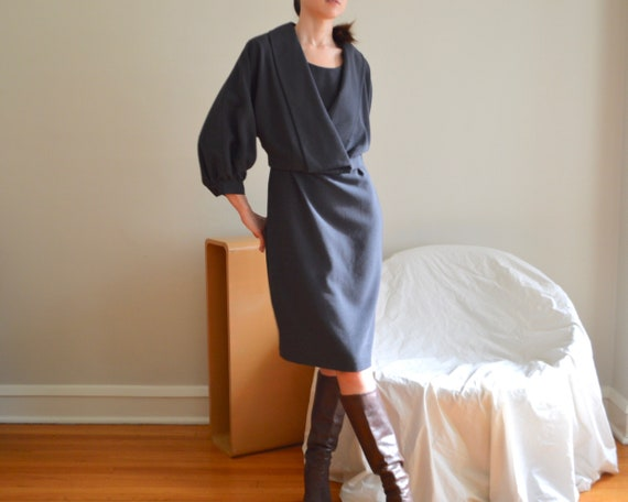 dolman pleat sleeve jacket and dress set