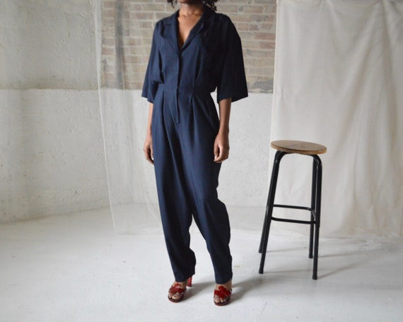 donna karan silk utility pleat navy blue jumpsuit
