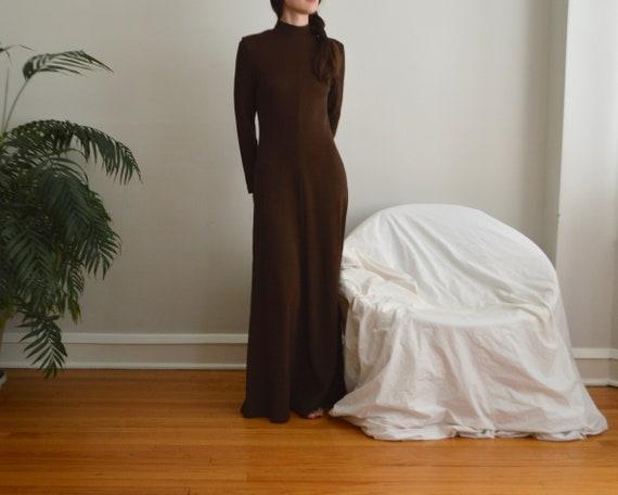 70s estevez brown microknit maxi dress - image 4