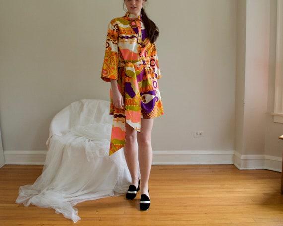 70s psychedelic shift mini dress - image 3