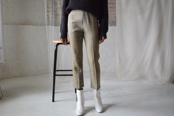 60s houndstooth cigarette pants / high waist