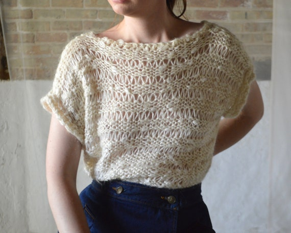 loose knit fuzzy short sleeve pullover sweater