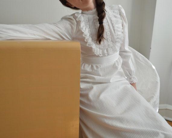 70s romantic white ruffled maxi dress