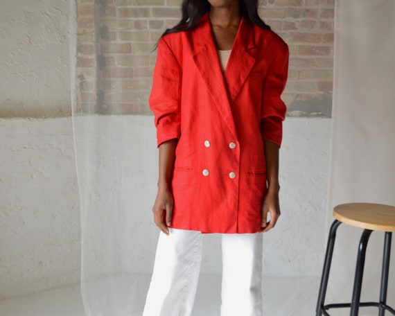 linen double breasted boxy blazer