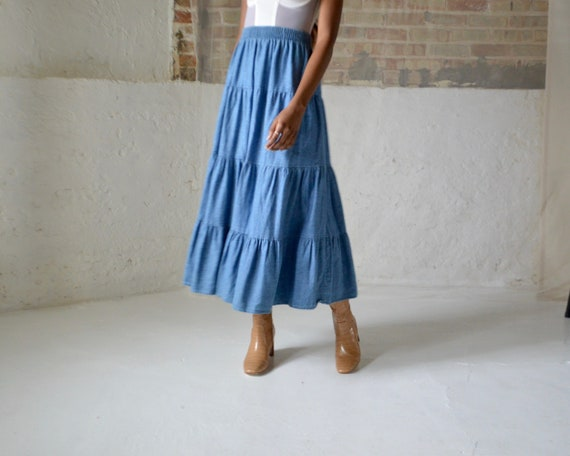 denim tiered circle skirt / ankle length skirt - image 4