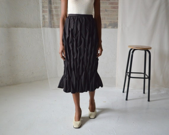 issey miyake black pleat midi skirt