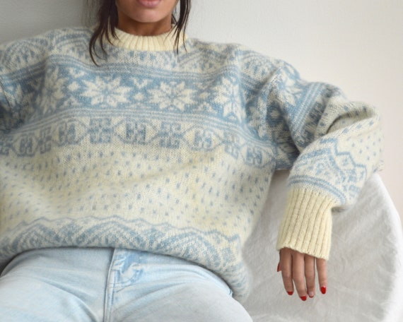 icelandic wool fair isle cream pullover