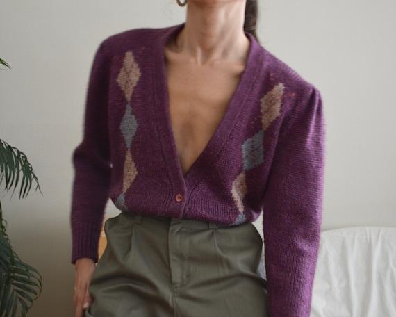 chunky purple argyle plunge puff sleeve cardigan s