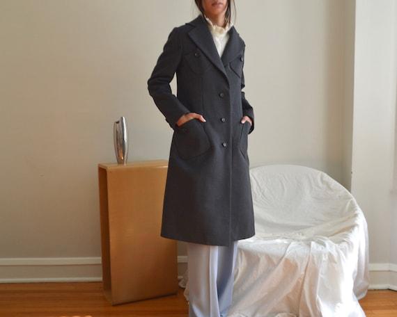 charcoal wool 70s princess coat