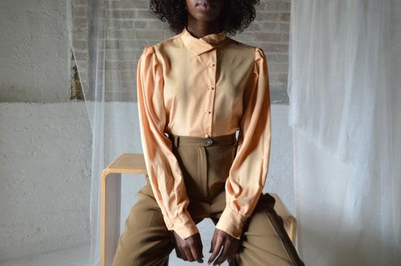 pale orange puff sleeve blouse / medium