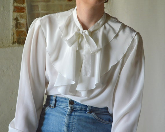 ruffle caped collar white blouse