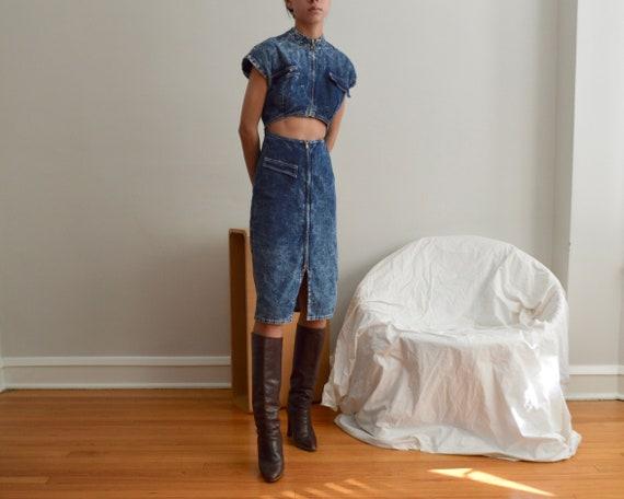 acid washed cut out denim dress