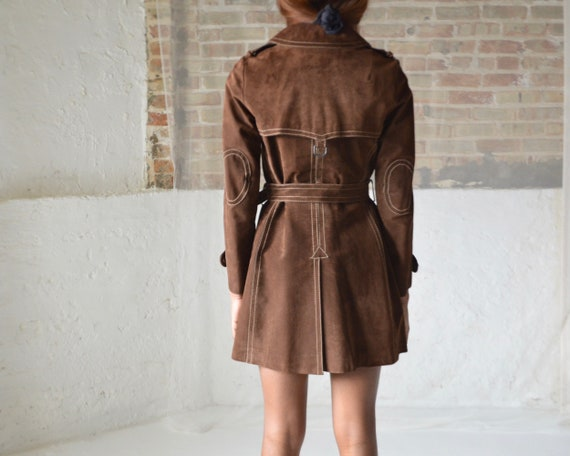 70s suede double breasted leather trench - image 8
