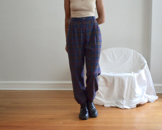 pendleton wool plaid pleated trouser / 32w
