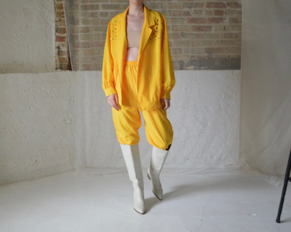 yellow oversized bedazzeled jacket and track pant
