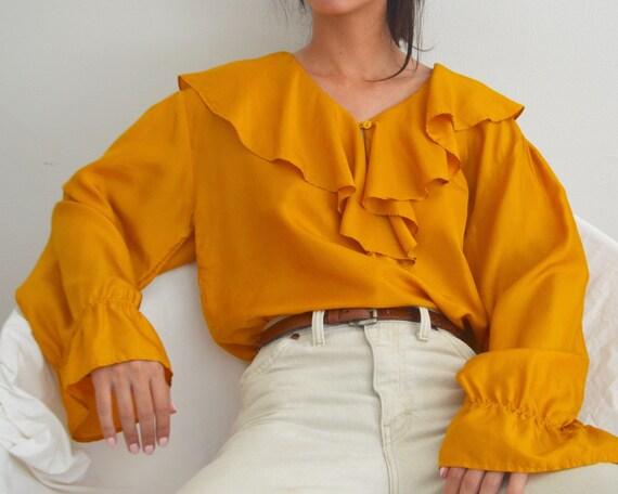 marigold silk ruffle ballow sleeve blouse - image 3