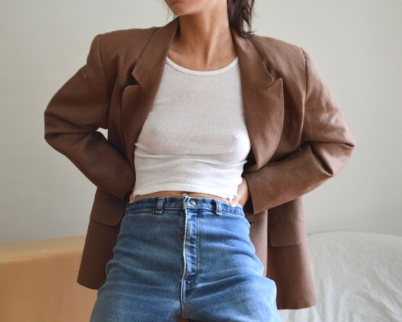 giorgio sant angelo tawny linen boxy blazer jacket