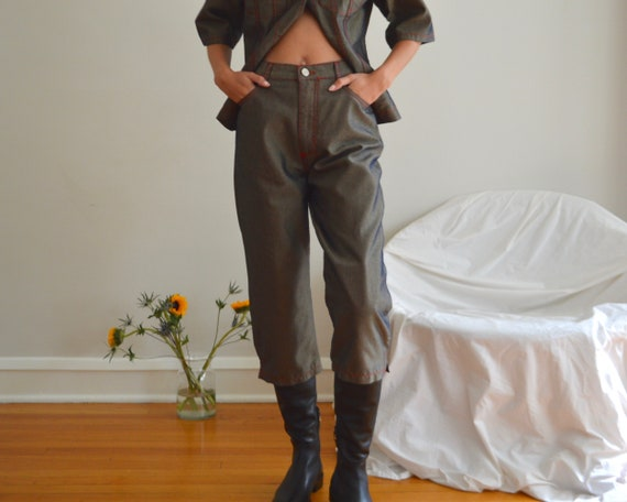 cropped denim two piece set / jacket and pant set