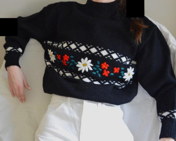 needlepoint black fair isle pullover mockneck swea