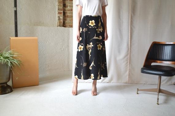 ankle length slip skirt / black floral skirt